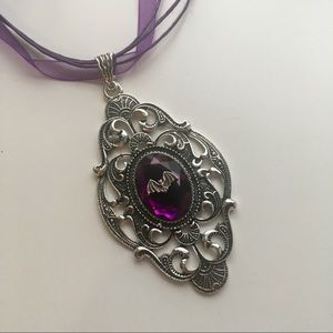 Jewelry - Silver bat on purple gem in art nouveau setting